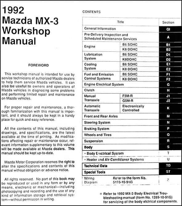 Mazda MX3. Workshop Manual