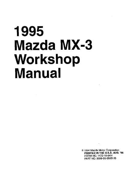 Mazda MX-3 v6. Workshop Manual