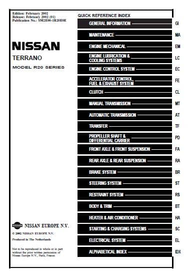 Nissan Terrano. Electronic Service Manual