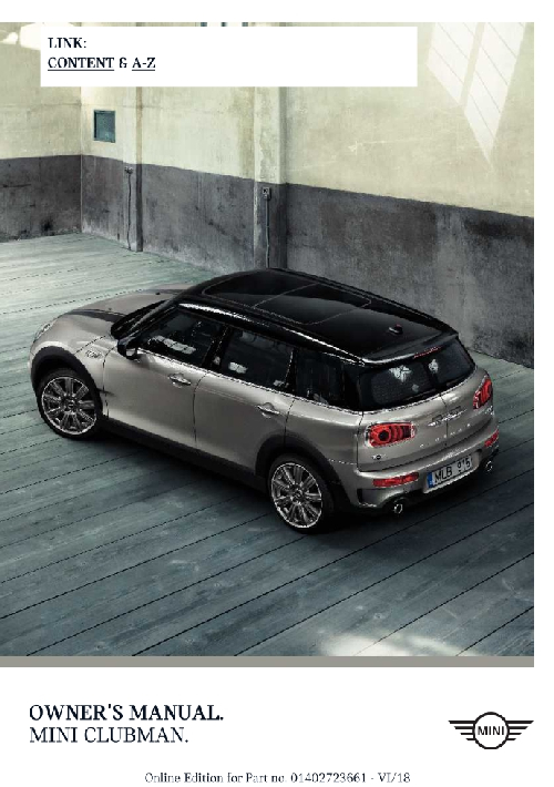 Mini Clubman 2019 MY. Owner's Manual
