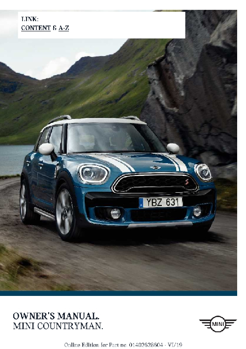 Mini Countryman 2020 MY. Owner's Manual