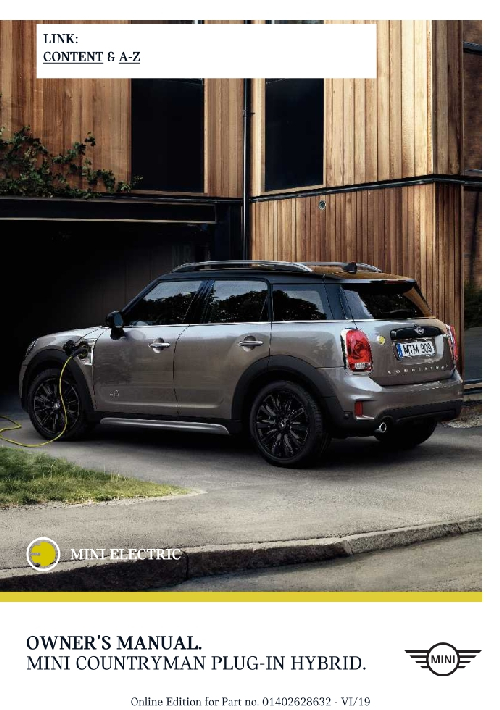 Mini SE Countryman 2020 MY. Owner's Manual